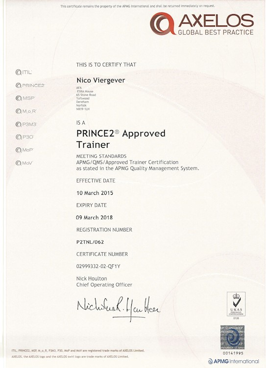 Approved PRINCE2 Trainer